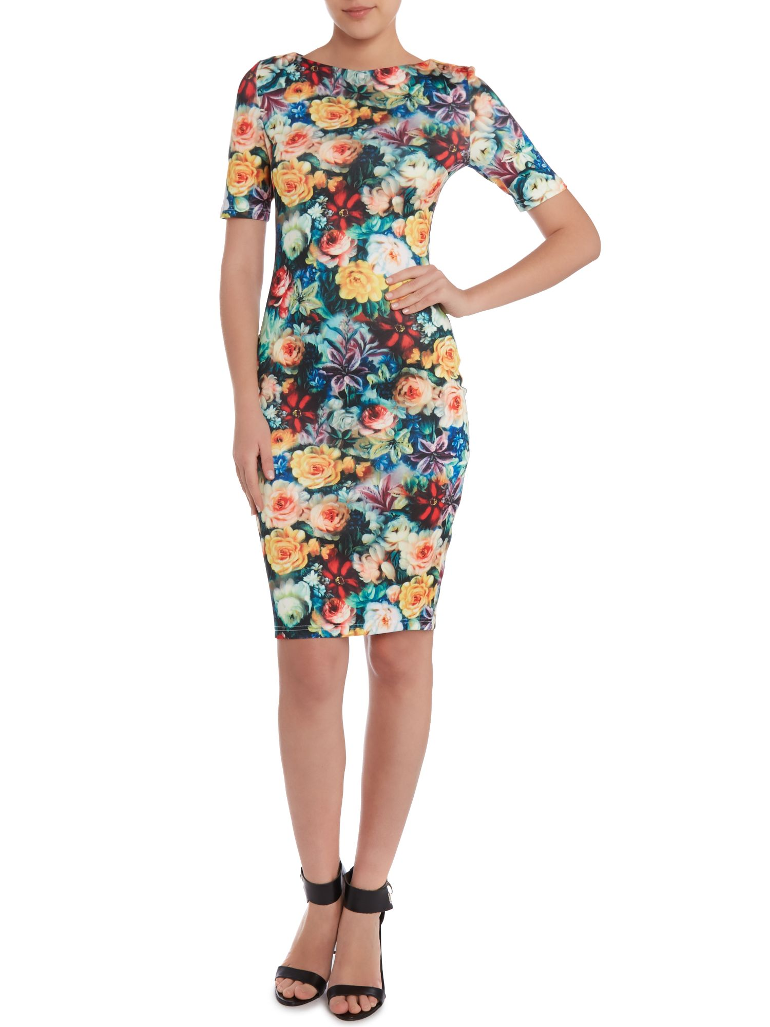 Short sleeved floral print bodycon dress