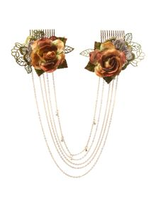 Double rose chain clips