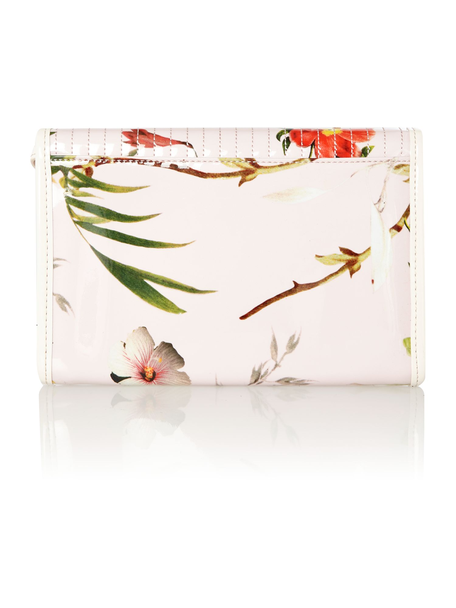 Nude floral quilt clutch bag