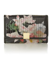 Black floral print quilt clutch ipad bag