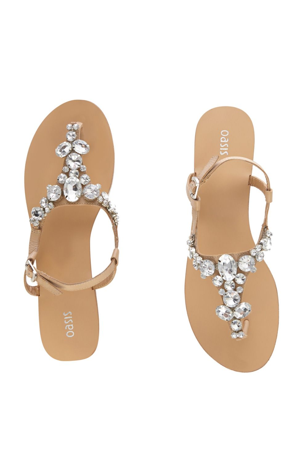 Gem stone leather sandals