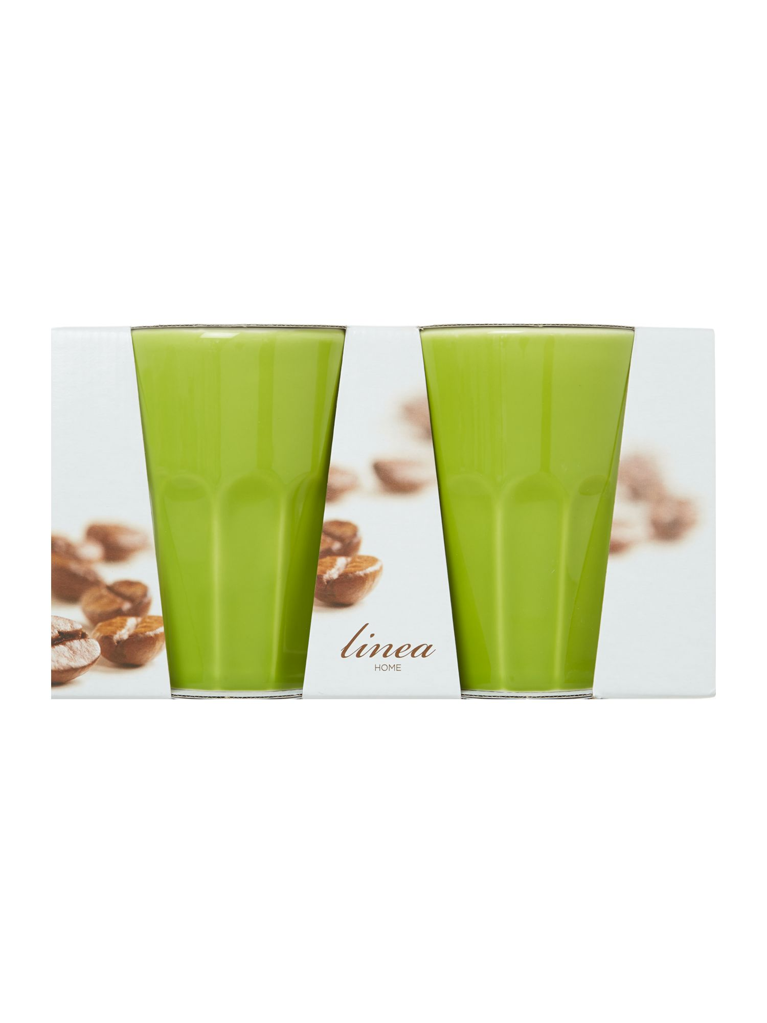 Green ceramic set of two latte mugs