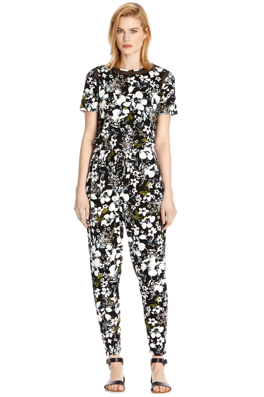 Tropical floral print jumpsuit