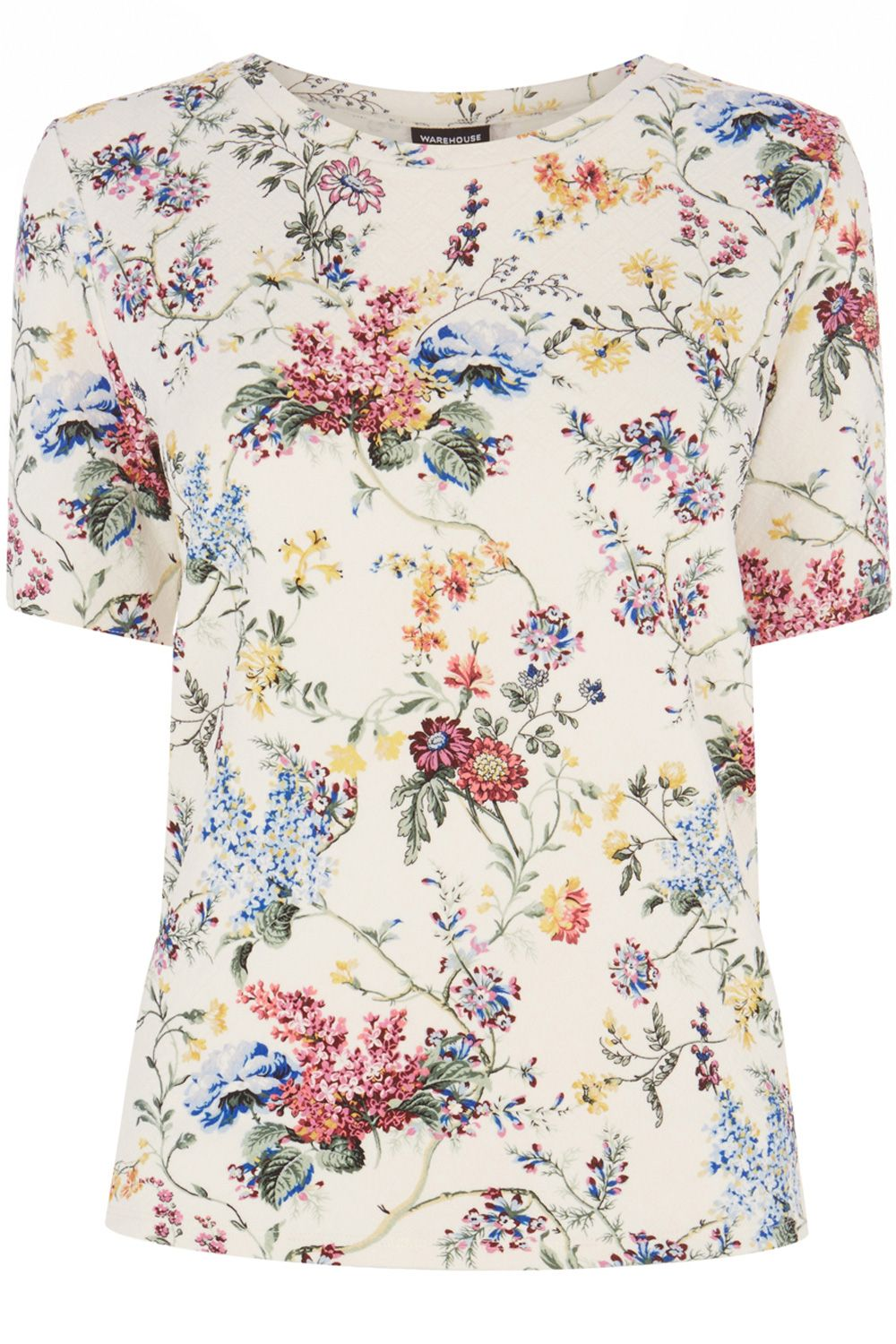 Floral quilted textured t-shirt