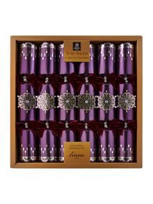 Set of 6 luxury high society purple crackers