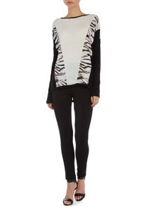 Tiger print panelled top