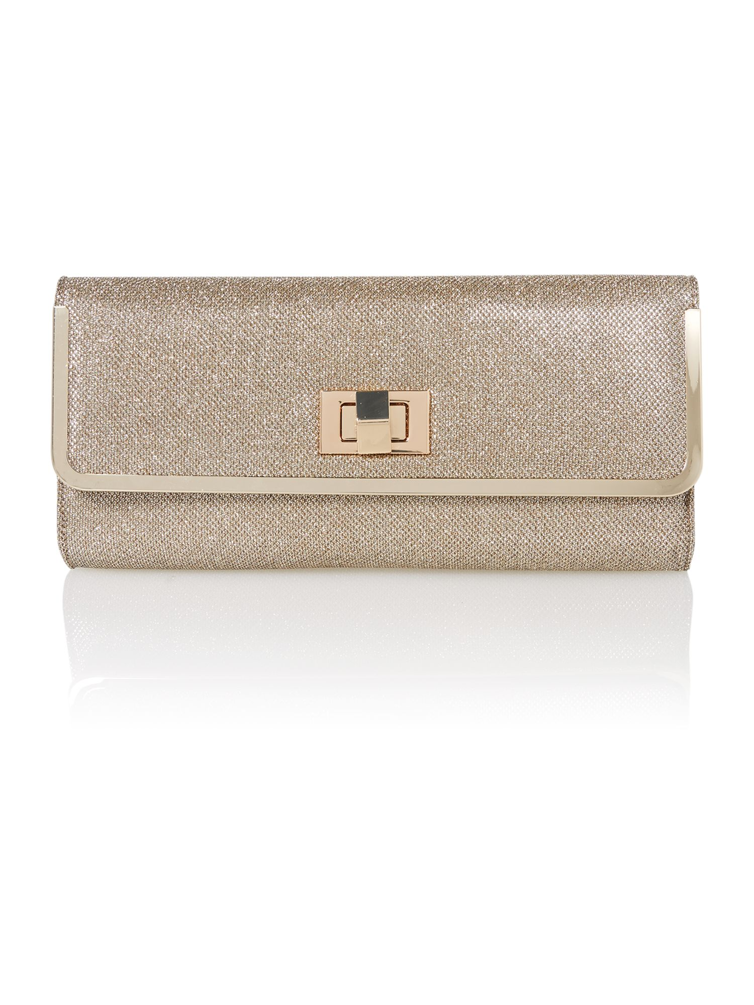 Nude sparkle clutch bag