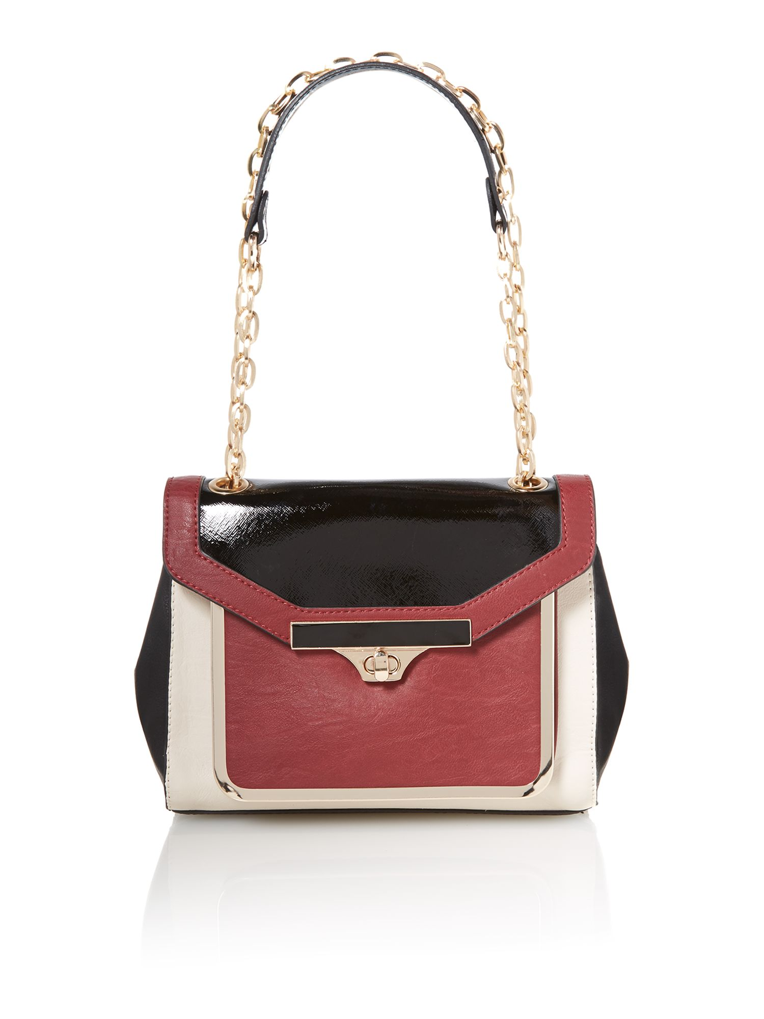 Red and black large colour block shoulder bag