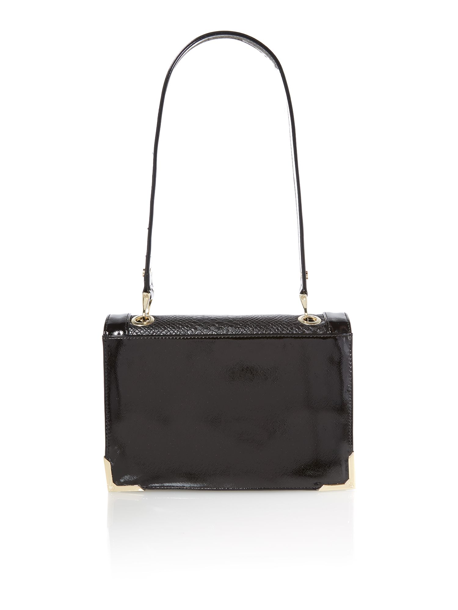 Black snake flapover shoulder bag