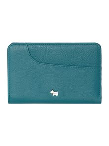 Pocket blue medium zip around purse