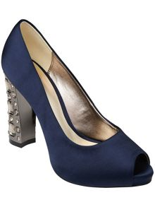 Eve jewel peep toe shoes