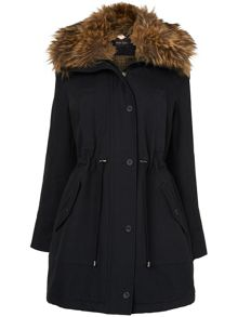 Faye faux fur trim parka coat