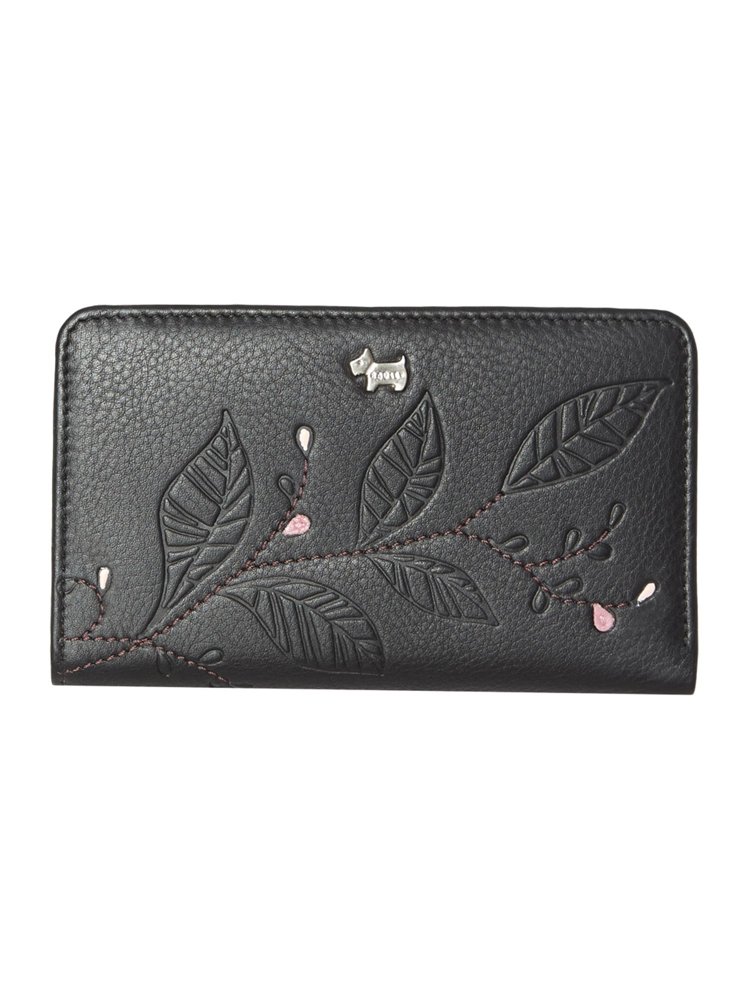 Laurel leaf black medium zip around purse