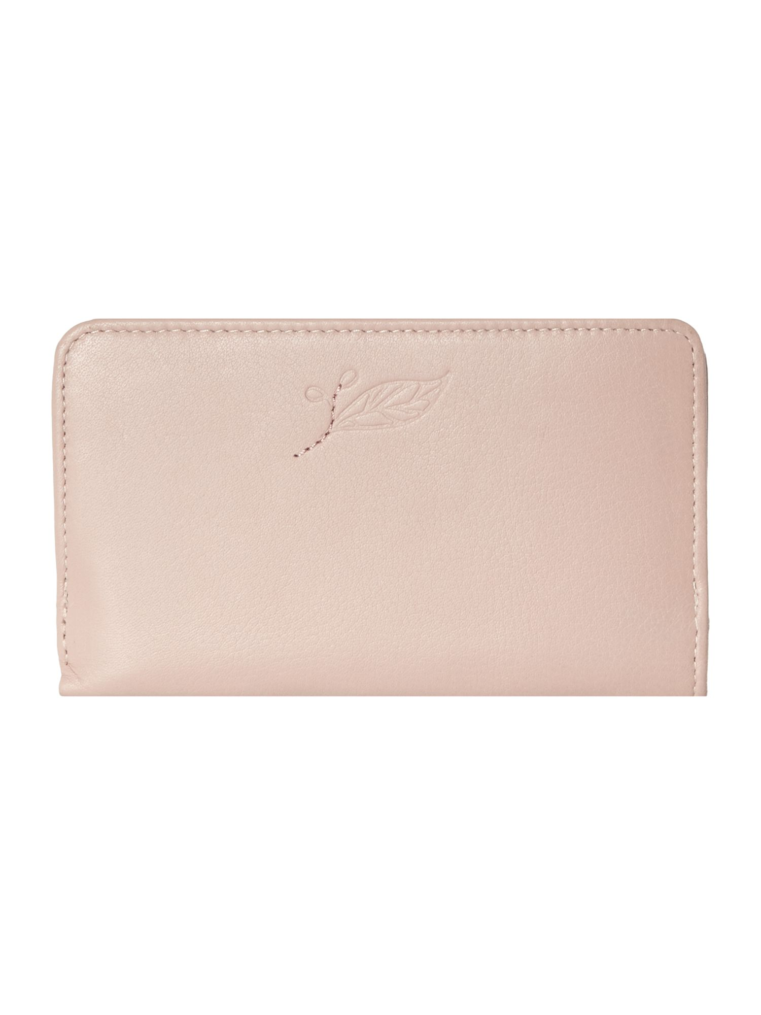 Laurel leaf pale pink medium zip around purse