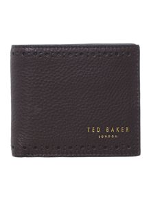 Leather brogue bifold coin wallet