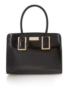 Black medium patent tote bag