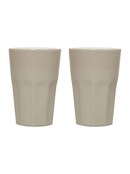 Linea Natural ceramic set of two latte mugs