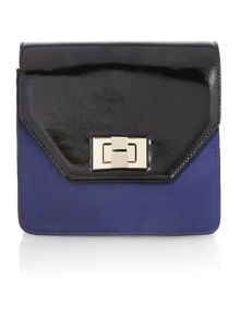 Black and purple small colour block shoulder bag