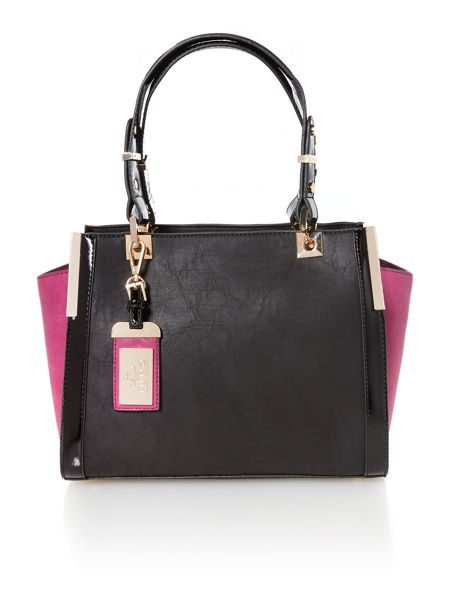 Juno Black and purple medium colour block tote bag