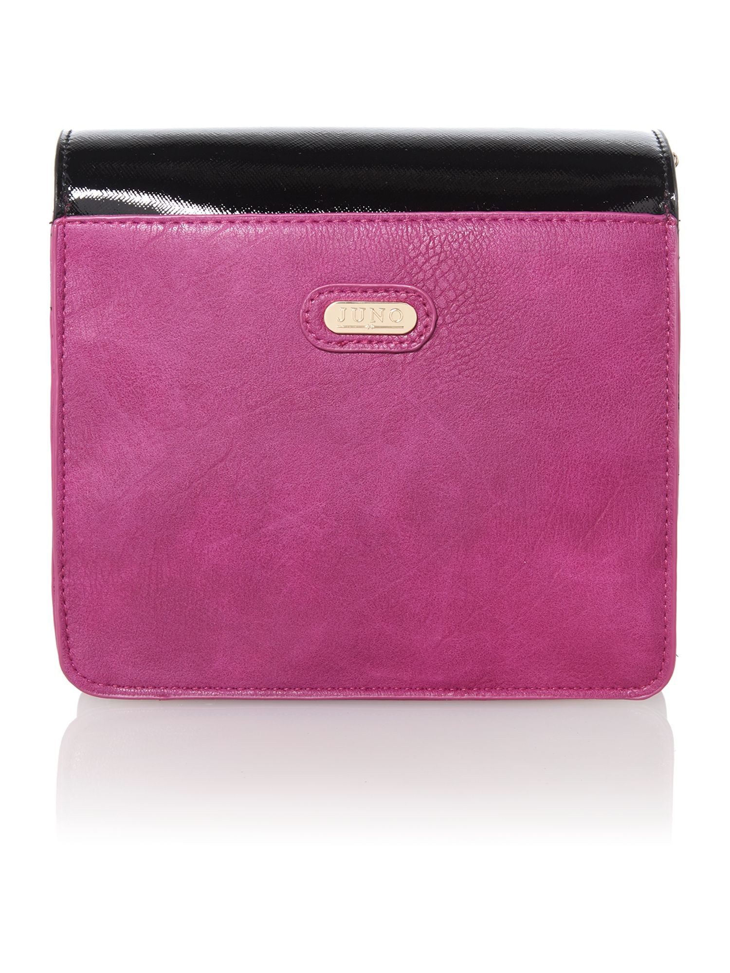 Black and fuchsia small colour block shoulder bag