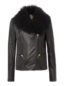 Detachable Mongolian wool collar leather jacket