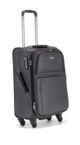 Helix grey 4 wheel soft cabin suitcase