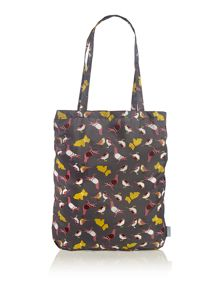 A little bird told me grey foldaway tote bag