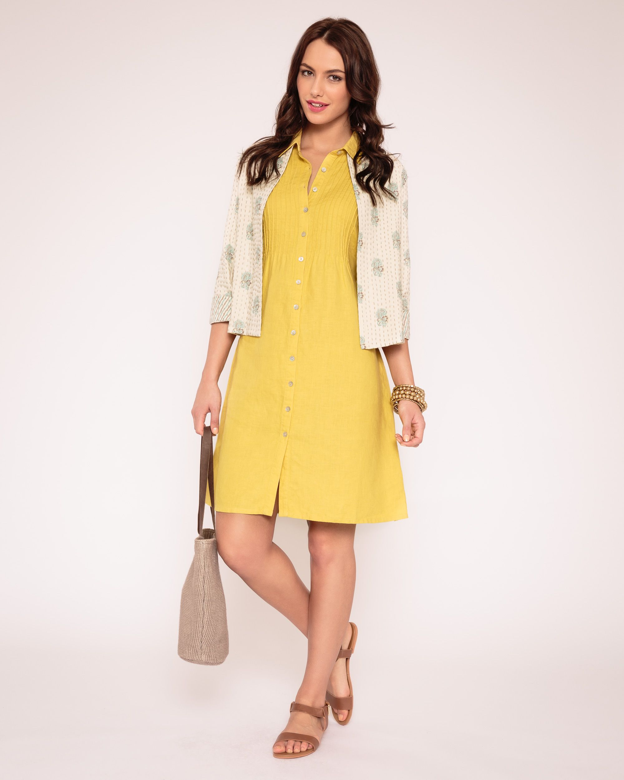 Pintuck linen shirt dress