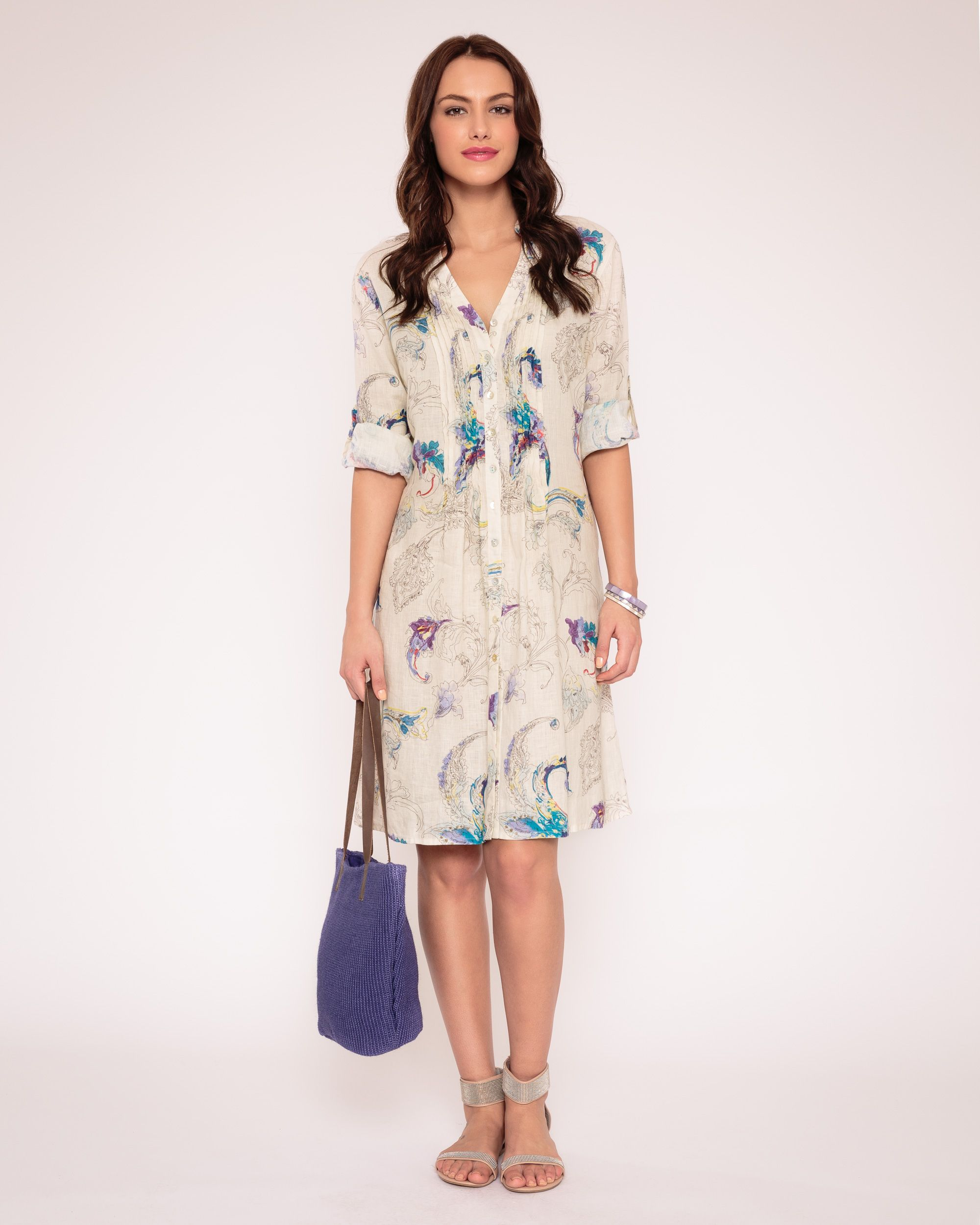 Dream print linen shirt dress