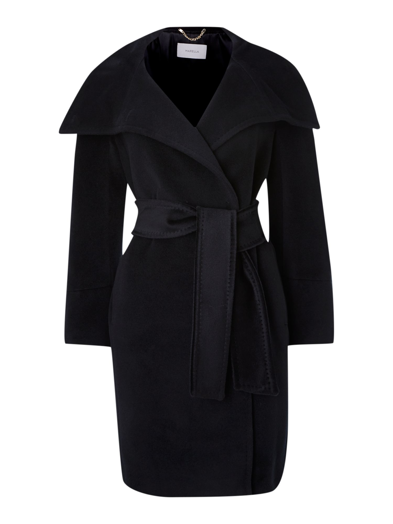Funnel neck belted wool coat