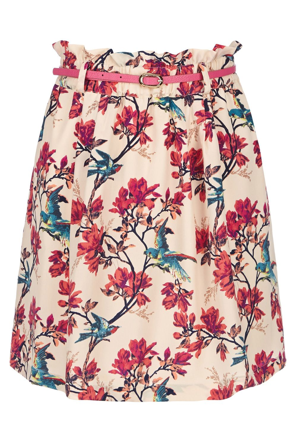 Tropical bird paper bag skirt