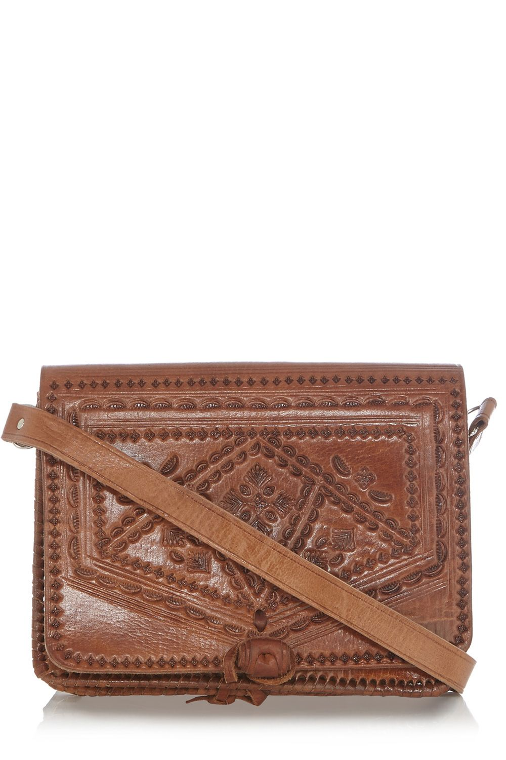 Tooled leather satchel bag
