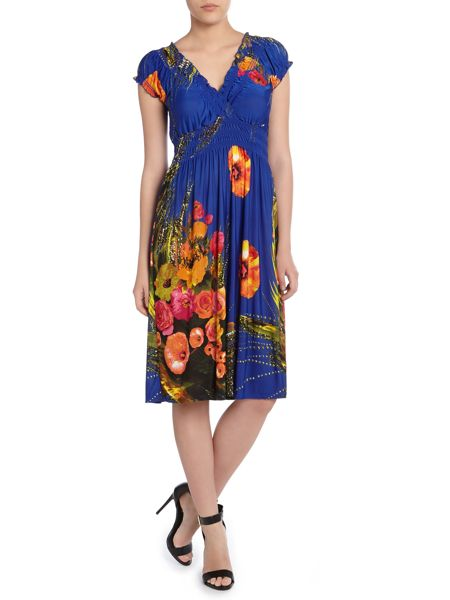 Izabel London Multi Flower Print Dress With Crossover