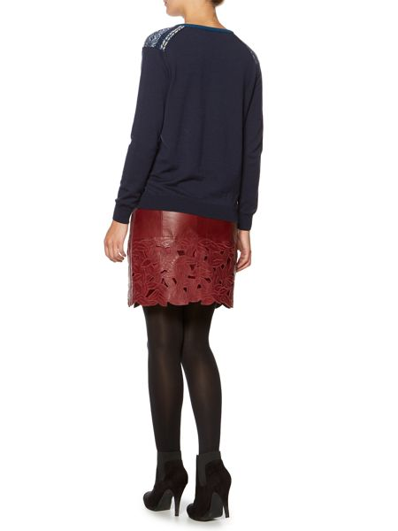 Dickins & Jones Leather floral skirt