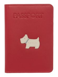Heritage dog red passport cover