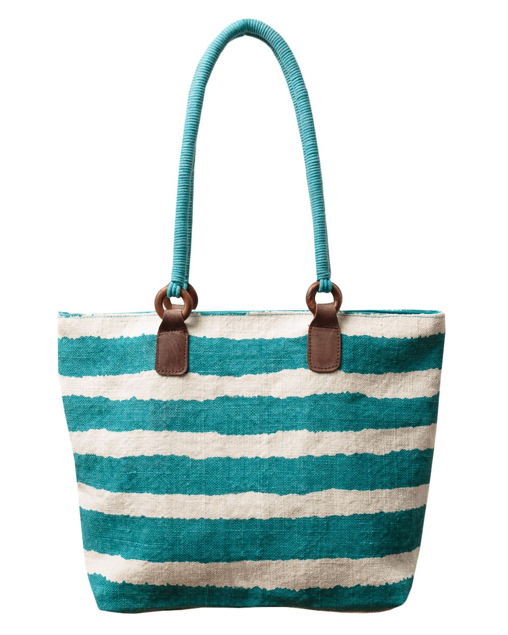 Stripe print jute bag