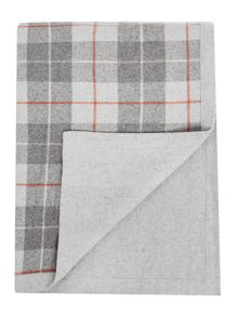 Grey and red plaid blanket