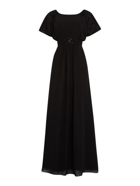 Ariella Chantilly lace cape gown