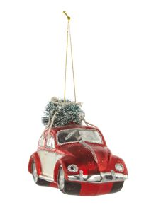 Glass car with Christmas tree decoration