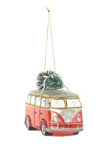 Glass campervan with Christmas tree decoration