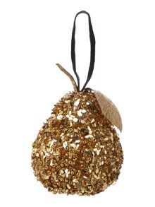 Gold beaded pear decoration