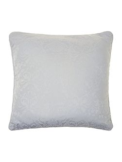 Baroque jacquard quilted cushion filled soft blue