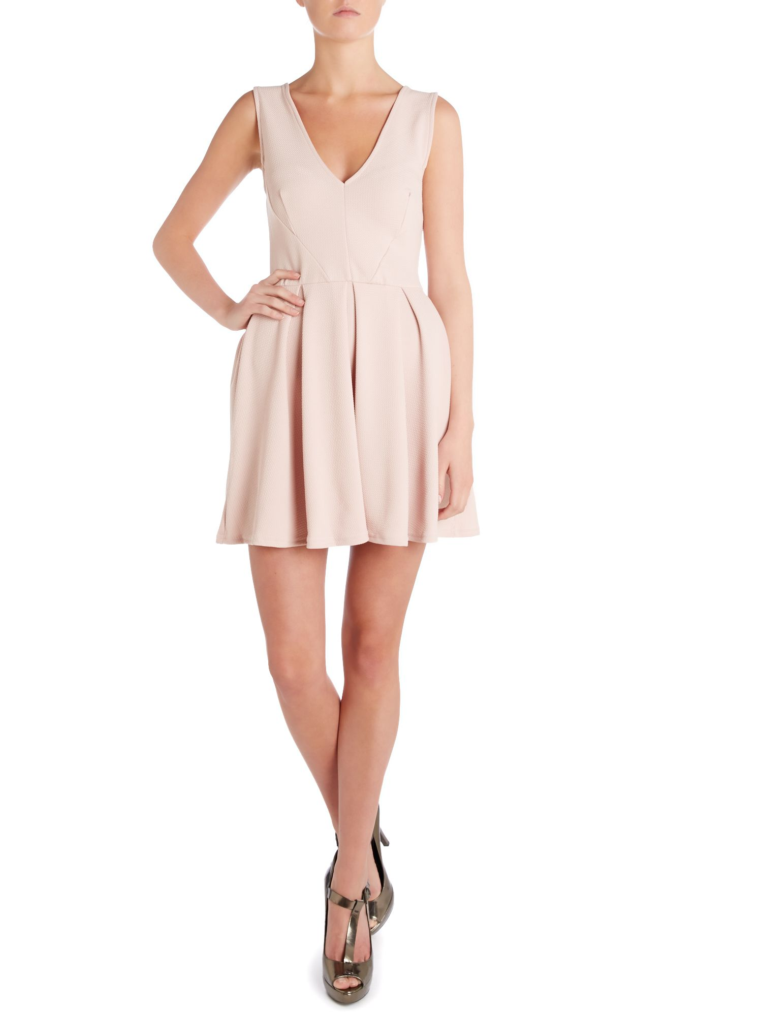 Fit and flare sleeveless v neck dress