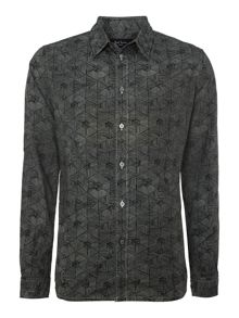 Geo print monochrome long sleeve shirt