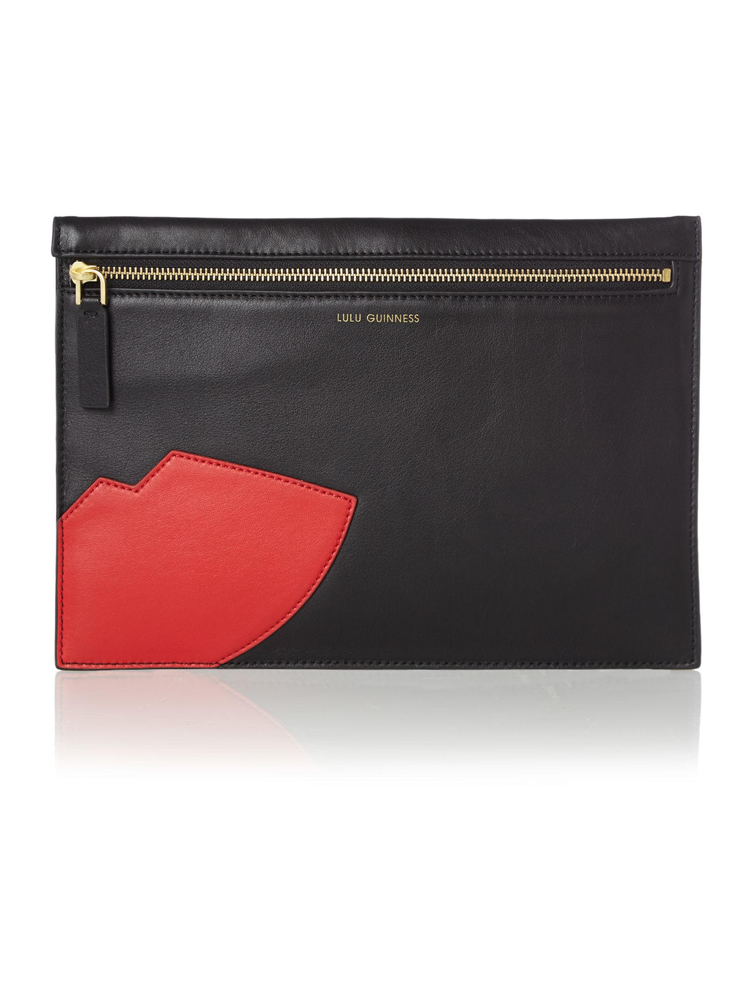 Naomi black lips large clutch bag