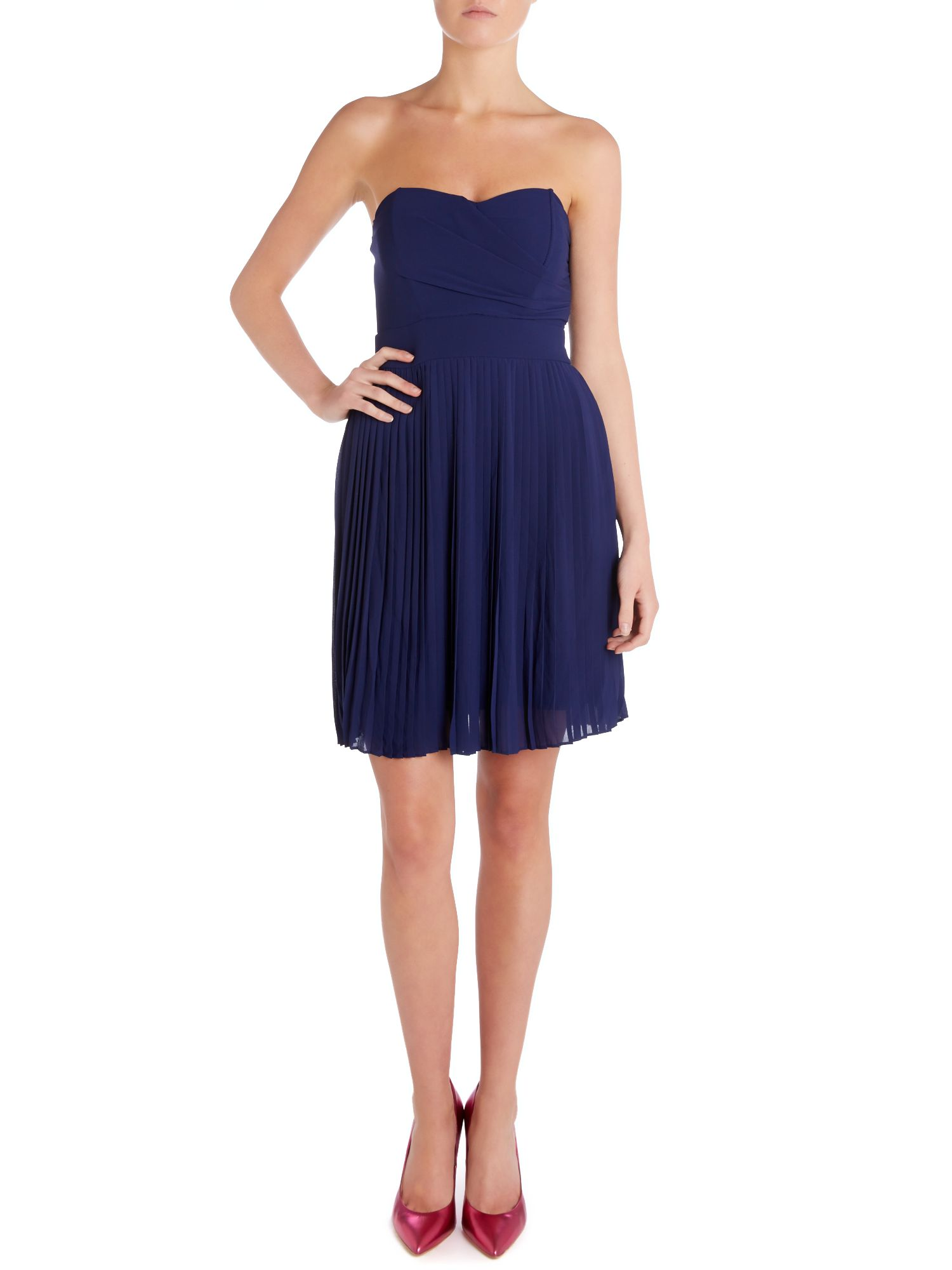 Strapless bandeau pleated skirt dress