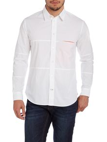 Plain Panel Long Sleeve Shirt