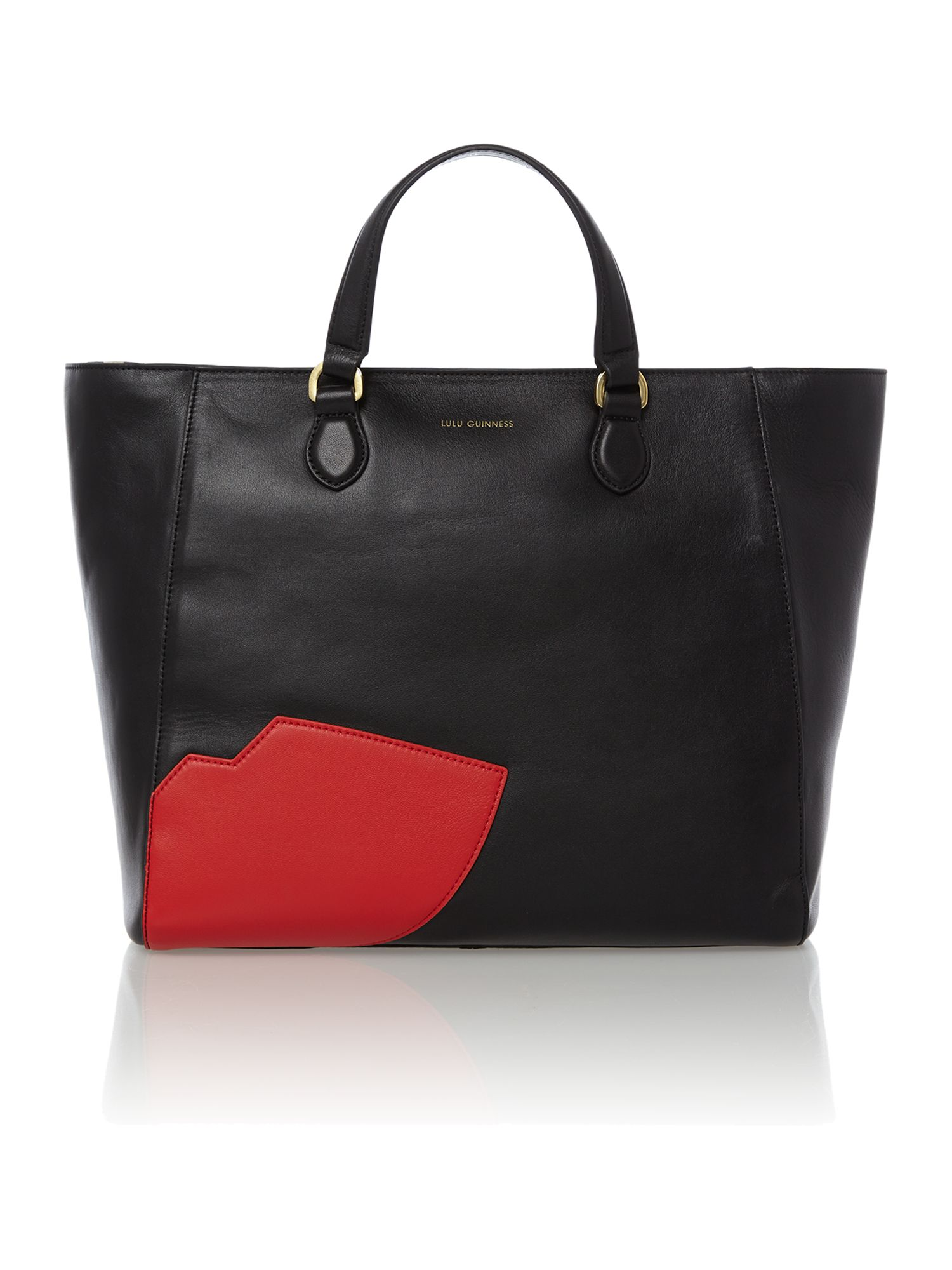 Francesca black large lips tote bag