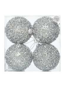 Pack of 4 sparkly silver baubles