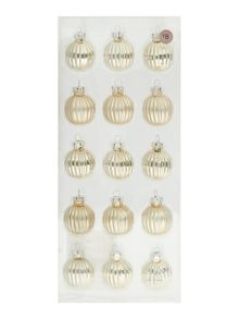 Pack of 15 mini glass champagne & silver baubles